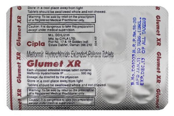 Glucophage XR 500mg Tablets (Generic Equivalent)